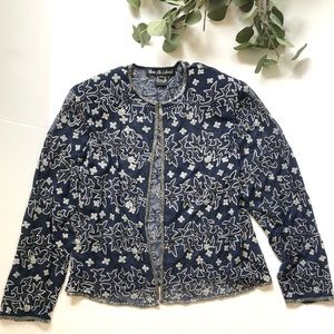 VINTAGE bow tie collection sheer beaded blazer top